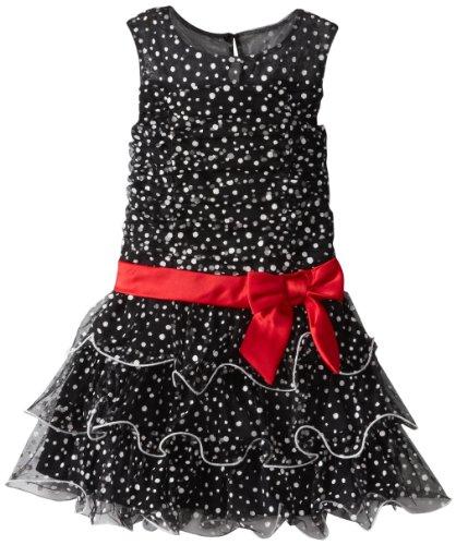 Tiered Satin Dress Black - 5