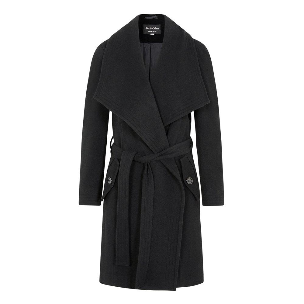 De la Creme - Women`s Winter Wool Cashmere Wrap Coat with Large Collar 1801