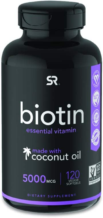 Biotin (5,000mcg) with Organic Coconut Oil | Supports Healthy Hair, Skin & Nails | Non-GMO Verified & Vegan Certified (120 Veggie Softgels)