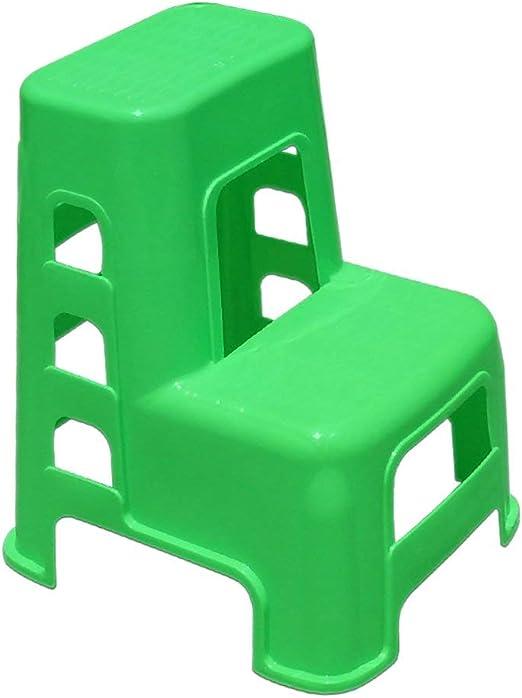 Taburete de escalera Taburete de plástico de 2 peldaños Escalera para adultos y niños Taburete de lavado de autos Muebles para el hogar Taburetes pequeños para pies Banco de zapatos (Color: verde):