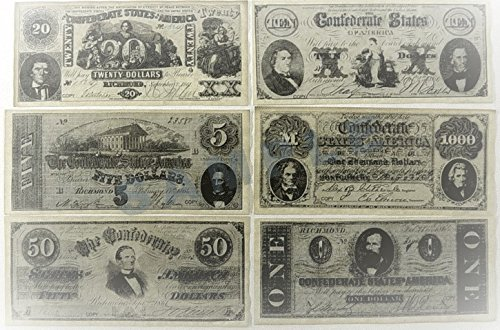 Replica Confederate Currency Set A, B, C, & D
