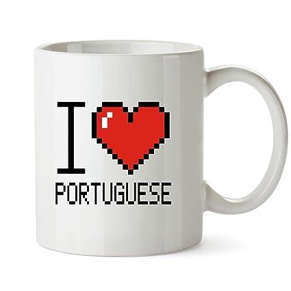 Idakoos I Love Portuguese Pixelated Languages Mug
