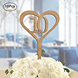ElekFX Wedding Table Numbers, Wedding Wooden Desk Number Cards Party Seat Card Holder Banquet Reception and Flower Decoration (10pcs 1-10)