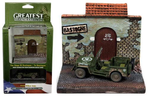 (1:64 Diorama - The Greatest Generation - WWII Willys MB Jeep &to Bastogne Resin Display JLSP023-24 Johnny Lightning)