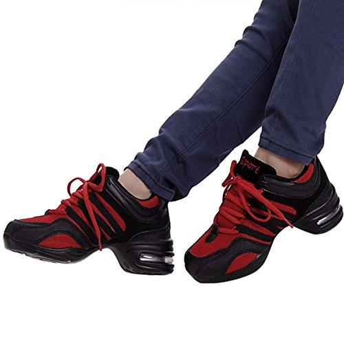 Femme Semelle De Chnhira Respirant Jazz Sneakers Chaussure Talon Maille Souple Rouge Gros Danse aWB4dwgq4