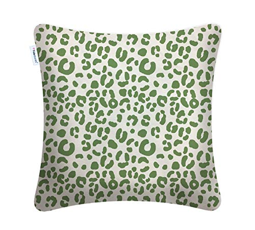 Fabritones Decorative Indoor Outdoor Accent Pillows Patio Cushion Leopard Print Square Throw Pillow with Insert Dark Green 1818 inch