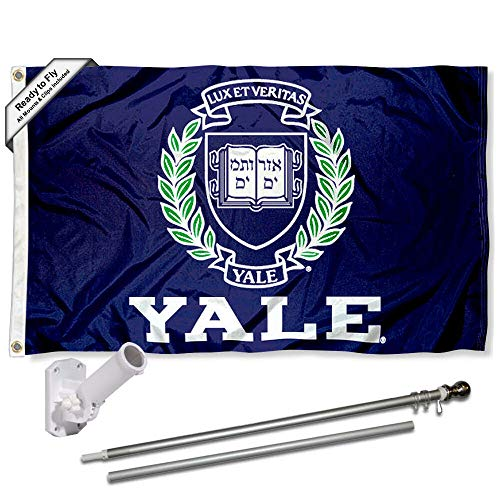 Yale Bulldogs Flag with Pole and Bracket Kit