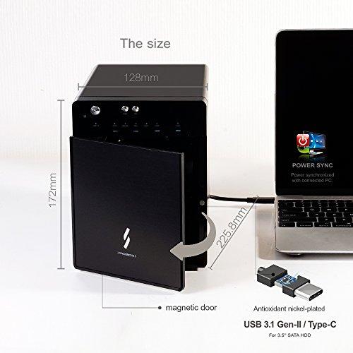 """Mediasonic USB 3.1 4 Bay 3.5"""" SATA Hard Drive Enclosure – USB 3.1 Gen 2 10Gbps Type C / USB-C (HF7-SU31C) by Mediasonic (Image #5)"""