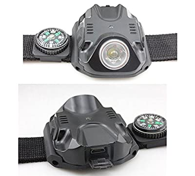 Dewel Fashion night Running Light Wrist,Compass,Flashlight watch, High Lumination LED Lamp with High/Middle/Low/Strobe/SOS Working Mode LED Watch Light for Running/Hiking/Camping Outdoor Sports