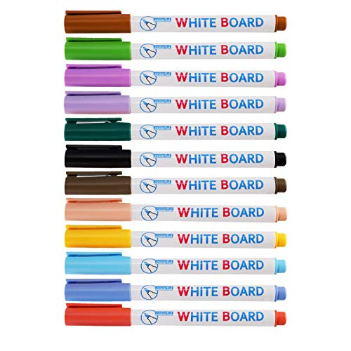 RAINCY Dry Erase Markers,Washable Whiteboard Marker,Fine Point,Quick-Drying,Low-Odor Ink Comfortable Grip Vivid Lines 12 Assorted Colors for Whiteboards Glass and Most Non-Porous Surfaces(Pack of 12)