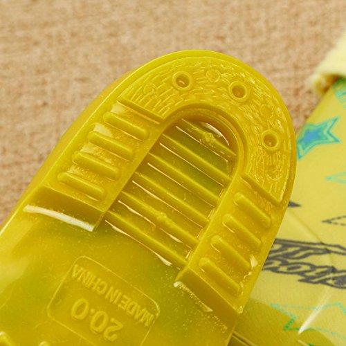 Sunnyyoyo Kinder Kind Kind Wasserdicht Stern Brief Drucken Gummi Regen Stiefel Schuhe Gelb