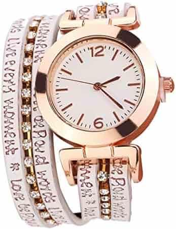ea07c60c0 Women Fashion Casual Analog Quartz Women Rhinestone Bracelet Watch Rose  Gold Girls Gold Ladies Hot Sale