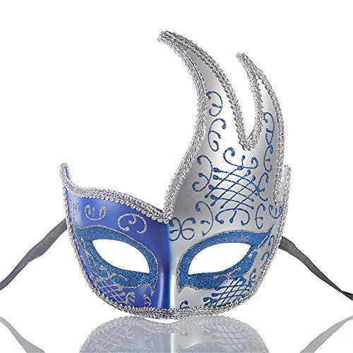 New Halloween Half Face Mask,Ladies Costume Ball Mask,Plastic Carnival Creative Mask,Bar Nightclub Princess Eye Mask Blue]()