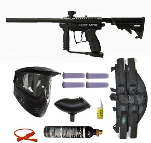 Spyder MR100 Pro Paintball Marker Gun 3Skull 4+1 9oz Mega Set - Black