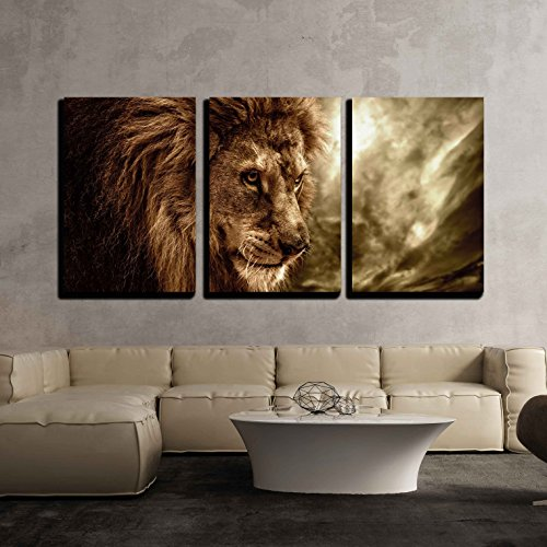 wall26 - 3 Piece Canvas Wall Art - Lion Against Stormy Sky - Modern Home Decor Stretched and Framed Ready to Hang - 16