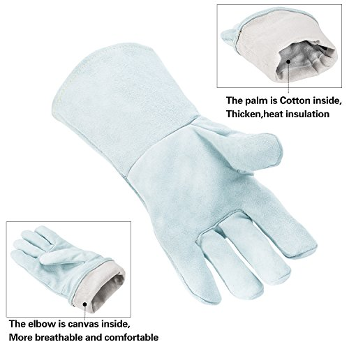 Colyn Heat & Fire Resistant Welding & BBQ Gloves, Premium Cowhide Leather Mitts For ARC TIG MIG Welders BBQ Oven Grilling Gardening Fireplace Stove Pot Holder, 14 in & 18 in, Gray (18 Inch (length)) by Colyn (Image #2)