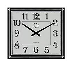 SMC 14-inch Modern Non Ticking Silent Quartz Analog Digital Rectangular,Ultra Thin Glass Wall Clock