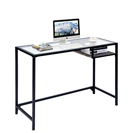 separation shoes a18bf 372f0 Aingoo Glass Computer Desk Study Writing Table Metal Frame for Student
