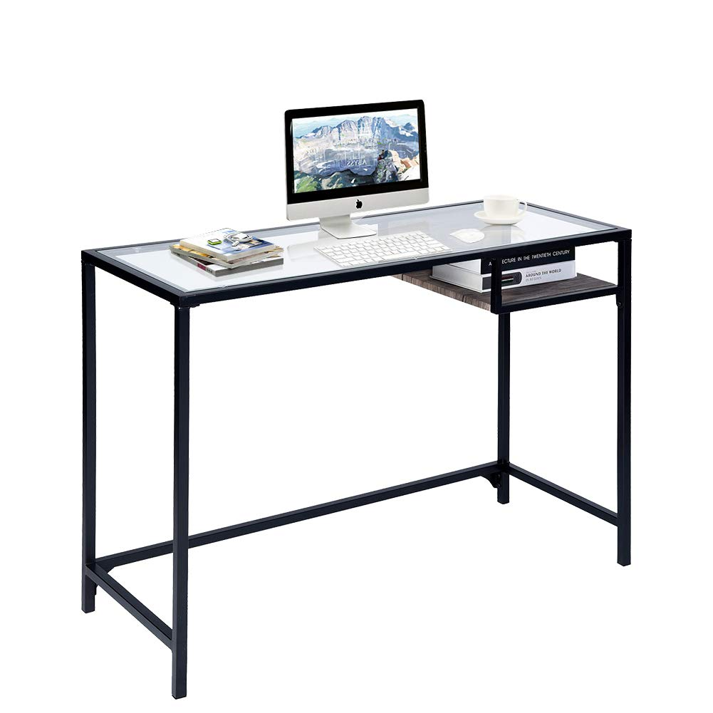 Aingoo Glass Computer Desk Study Writing Table Metal Frame for Student