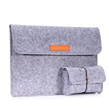 MoKo 10-11 Inch Sleeve Bag, Felt Protective Carrying Case Cover for Surface 3 (10.8 Inch), Lenovo Yoga Book (10.1 Inch) and More, with Small Felt Bag, Light Gray