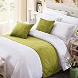 OSVINO Solid Color Chenille Soft No Fading Modern Bed Runner Bedding Scarf Protection, Green 260X50cm for 200cm Bed