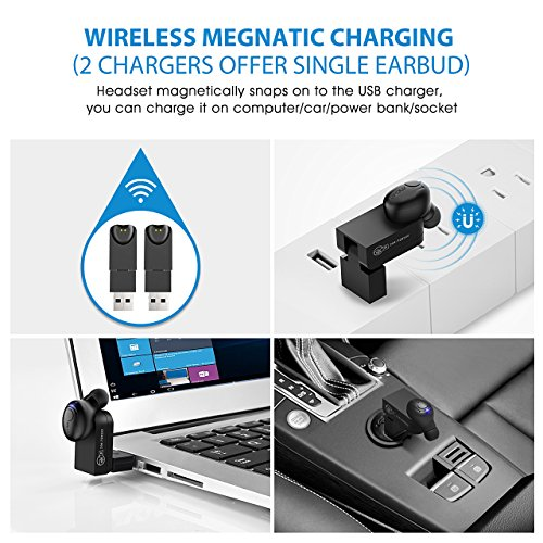 Large Product Image of Mpow Mini Bluetooth Earbud, V4.1 Wireless Headphones, 6-Hr Playing Time Car Bluetooth Headset Invisible Headphone with Mic, Cell Phone Bluetooth Earpiece for iPhone Samsung Android (Two Charger)