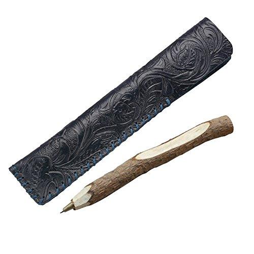 Home Oak Design Single (Oak-Pine Vintage Craving Design Leather Single Pen Case Holder Handmade Fountain Pen Pouch Bag Soft Pencil Protective Sleeve Cover, Blue)