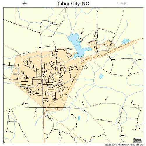 Tabor City Nc Map.Amazon Com Large Street Road Map Of Tabor City North Carolina Nc