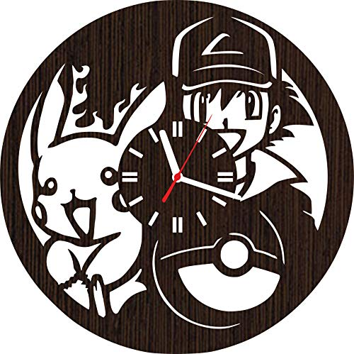 Wooden Wall Clock Pokemon Gifts for Kids Boys Girls Room Decorations Baby Shower Disney Movie Party Supplies Bedding Christmas DVD Poster Women Collectibles Vinyl Pikachu and ash