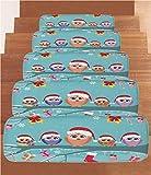 Non-Slip Carpets Stair Treads,Christmas Decorations,Cute Owl Family Sitting on Branch Like Little Elves of Noel Animal Design,Multi,(Set of 5) 8.6''x27.5''