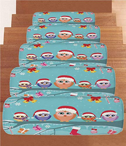Non-Slip Carpets Stair Treads,Christmas Decorations,Cute Owl Family Sitting on Branch Like Little Elves of Noel Animal Design,Multi,(Set of 5) 8.6''x27.5'' by iPrint