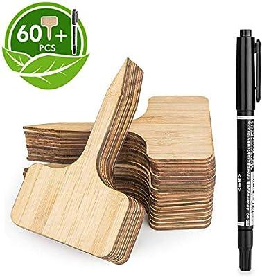 HIRALIY 60 Piezas Etiquetas de Plantas de bambú (6 x 10 cm) con ...
