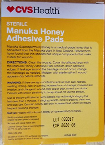 cvs manuka honey adhesive pads 1 8 u0026quot  x 3 u0026quot  8 count