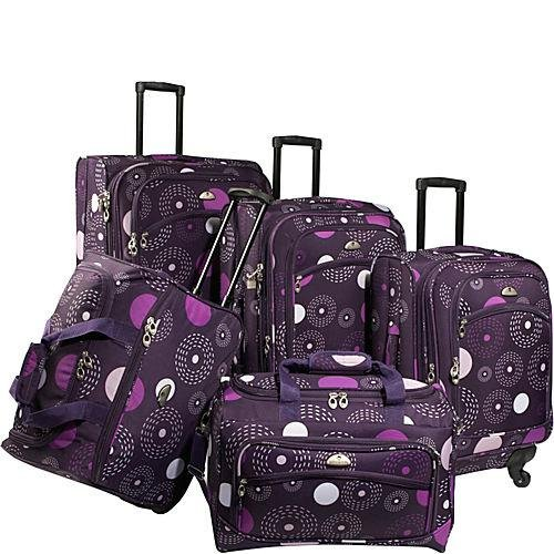American Flyer Luggage Fireworks 5 Piece Spinner Set, Purple, One Size