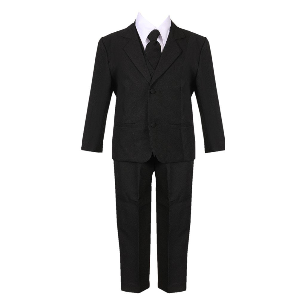 Baby Boys Black 5 Piece Classic Vest Jacket Pants Special Occasion Suit 3-24M Rafael Collection