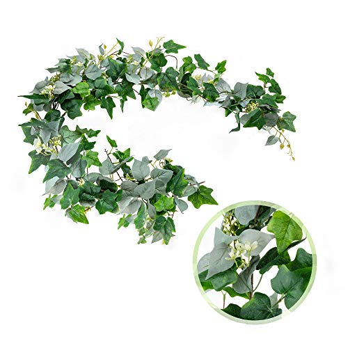 Artificial Fake Ivy Greenery Garland - 5.6' Long Silk Faux Decorative Hanging Vines Contrasting Green Silver Leaves and White Flowers - Perfect for Table Wedding Party Home Garden Indoor Wall Decor