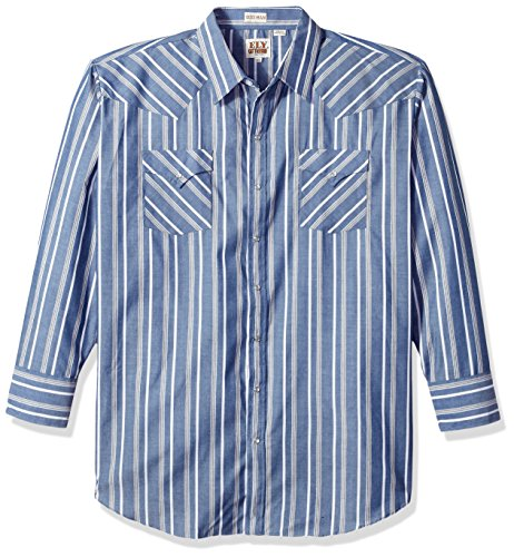 Ely & Walker Men's Long Sleeve Stripe Western Shirt-Big, Blue, 3X (Blue Mens Walker)