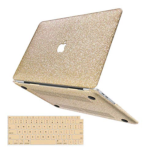 MacBook Air 13 Inch Case 2019 2018 Release A1932, Anban Glitter Bling Smooth Protective Laptop Shell Slim Snap On Case with Keyboard Cover Compatible for MacBook Air 13 inch with Touch ID, Gold