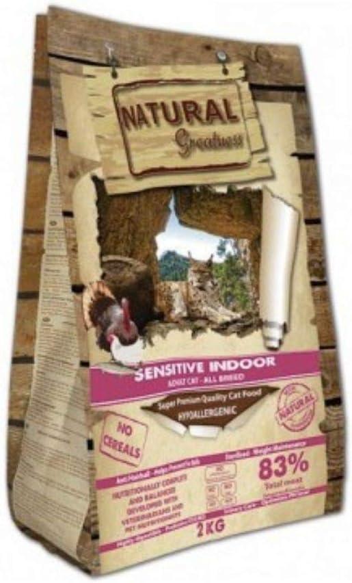 Natural Greatness - Pienso para Gatos Esterilizados No Gluten Sensitive Indoor Saco 2 kg Incluye Aceite de Salmon Grizzly 125 ml | ANIMALUJOS (Saco 2 Kg)