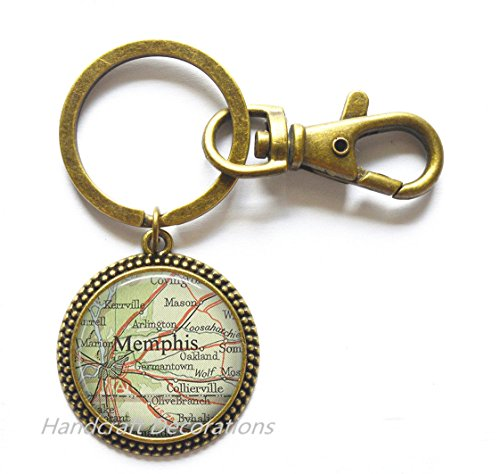 Charming Keychain,Memphis, Tennessee map Key Ring, Memphis map Keychain map jewelry Memphis Keychain Memphis Key Ring,A0308