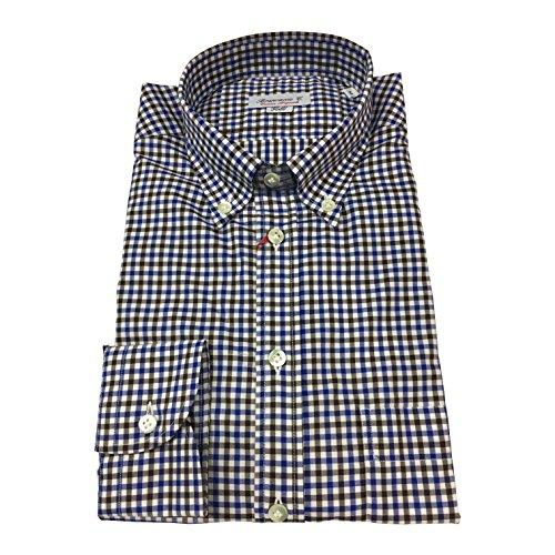 BRANCACCIO camicia uomo botton-down quadri azzurro/moro 100% cotone Vestibilità comoda