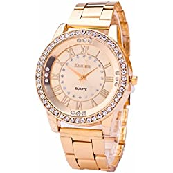 Mosunx(TM) Hot Women's Crystal Bracelet Stainless Steel Analog Quartz Wrist Watch Gift (Gold )