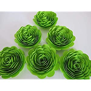 "Neon Green Paper Flowers, Set of 6, Big 3"" Roses, Lime Green Skating Party Decorations, Wedding Decor, Table Centerpiece, Teen Bedroom Wall Art 114"