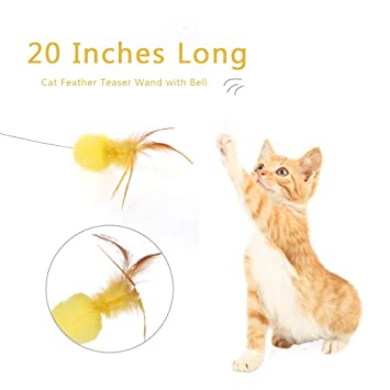 Weehey Cat Feather Teaser Wand 20 Pulgadas Long Metal Wand ...