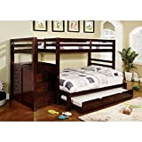 247SHOPATHOME Bunk bed with trundle, Twin over twin, Walnut