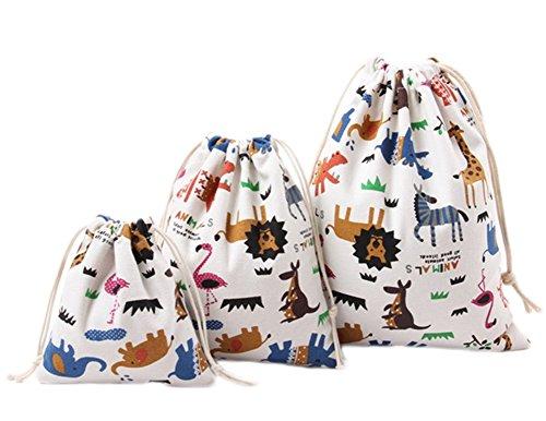 Bagages Pochette Pratique Avec Cordon Sac En Rangement Mignonne Impression À Hosaire Voyage 1pcs De Des Organisateur Toile Animaux Lin wTaxcgHU