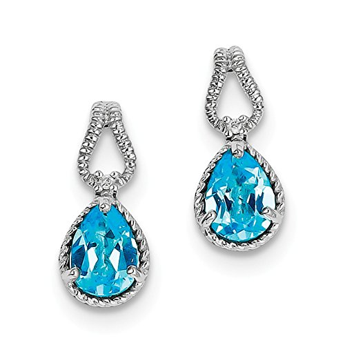 Top 10 Jewelry Gift Sterling Silver Rhodium-plated Blue Topaz and Diamond Earrings