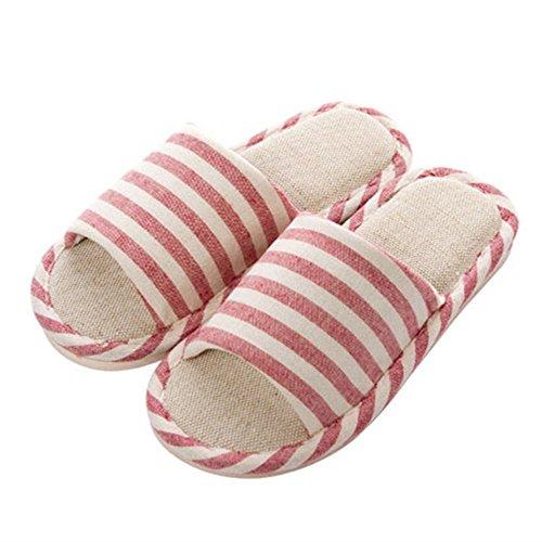 Pantofole Wodeal, Pantofole Da Casa Casual Da Donna E Da Uomo In Cotone Di Lino Rosa Per Interni Ed Esterni