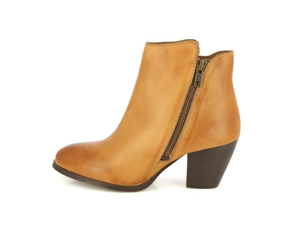ALBERTO Closed TORRESI Women's Leather Boot Closed ALBERTO Toe Zipper Tassel Low Heel Ankle Boot B074283DNS 7 B(M) US|Tan 576373