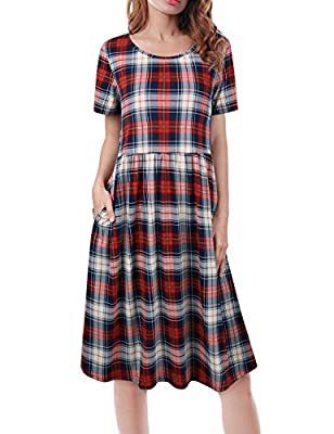 Sunerlory Women Plaid Dress Short Sleeve Tunic Tops Scoop Neck Long Shirts Casual Blouse with Pocket